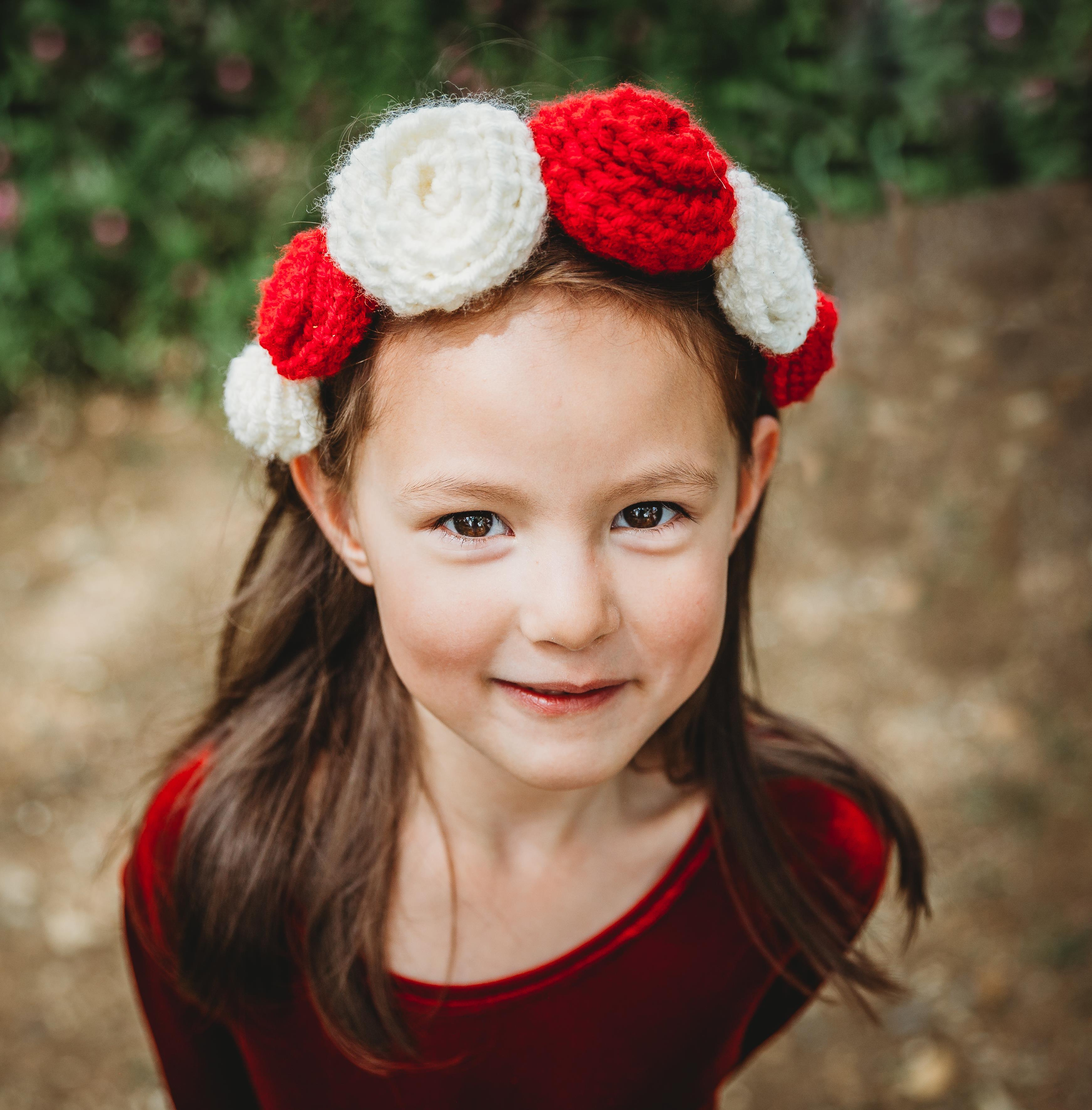 red and white roses headband