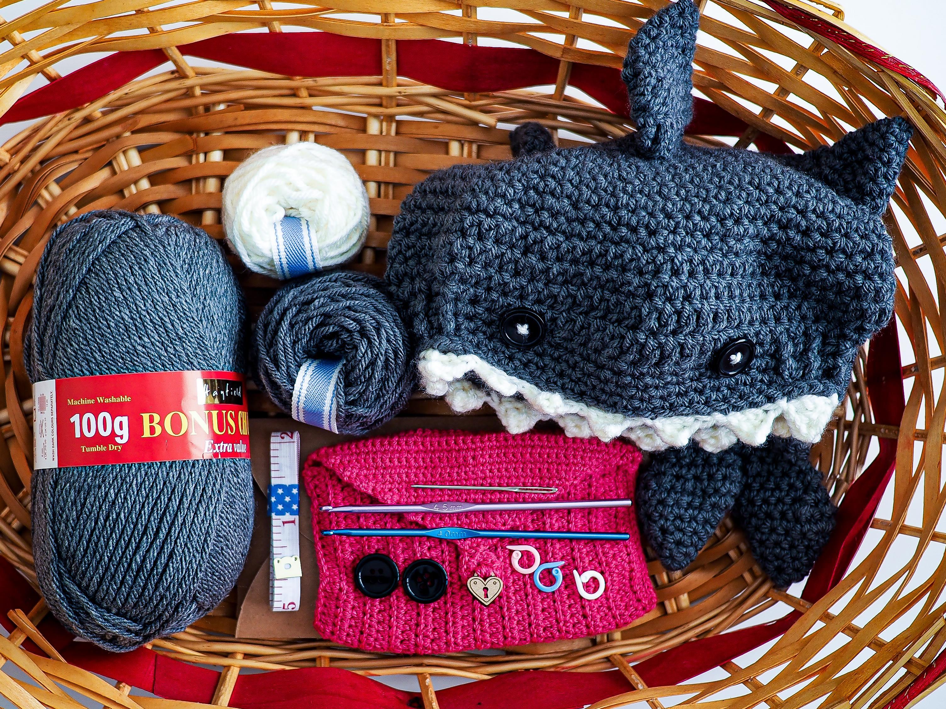 crochet kit and shark hat