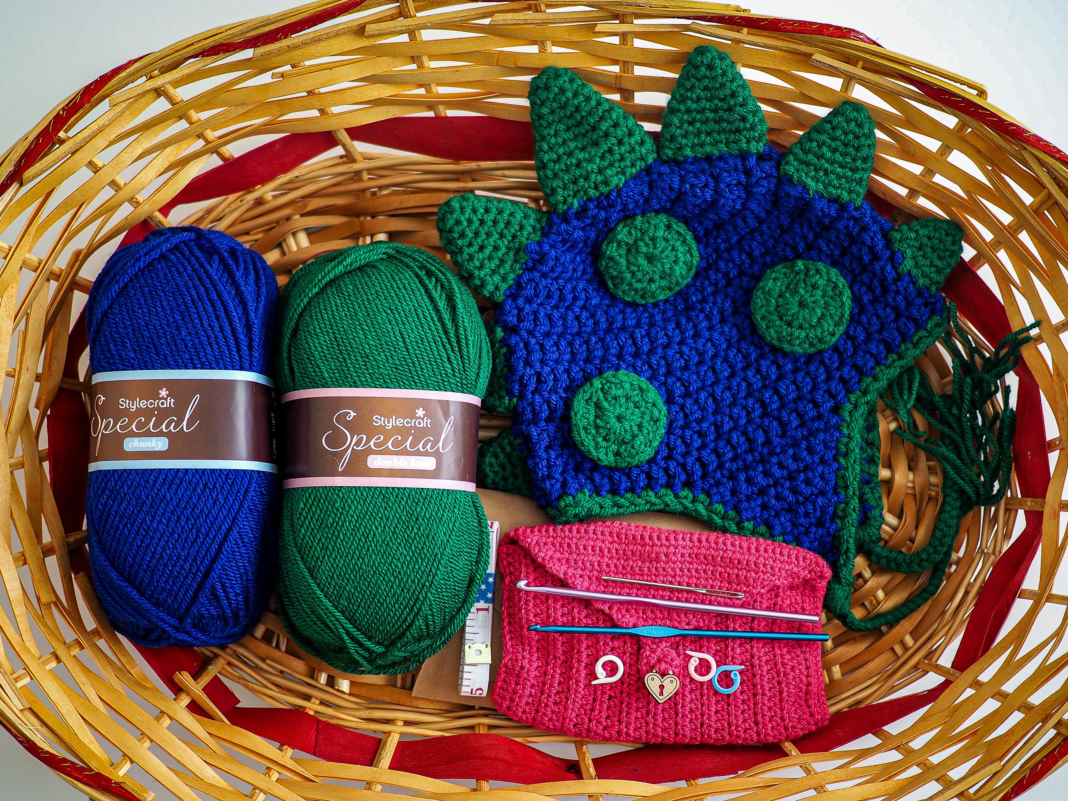 crochet kit and blue dragon hat