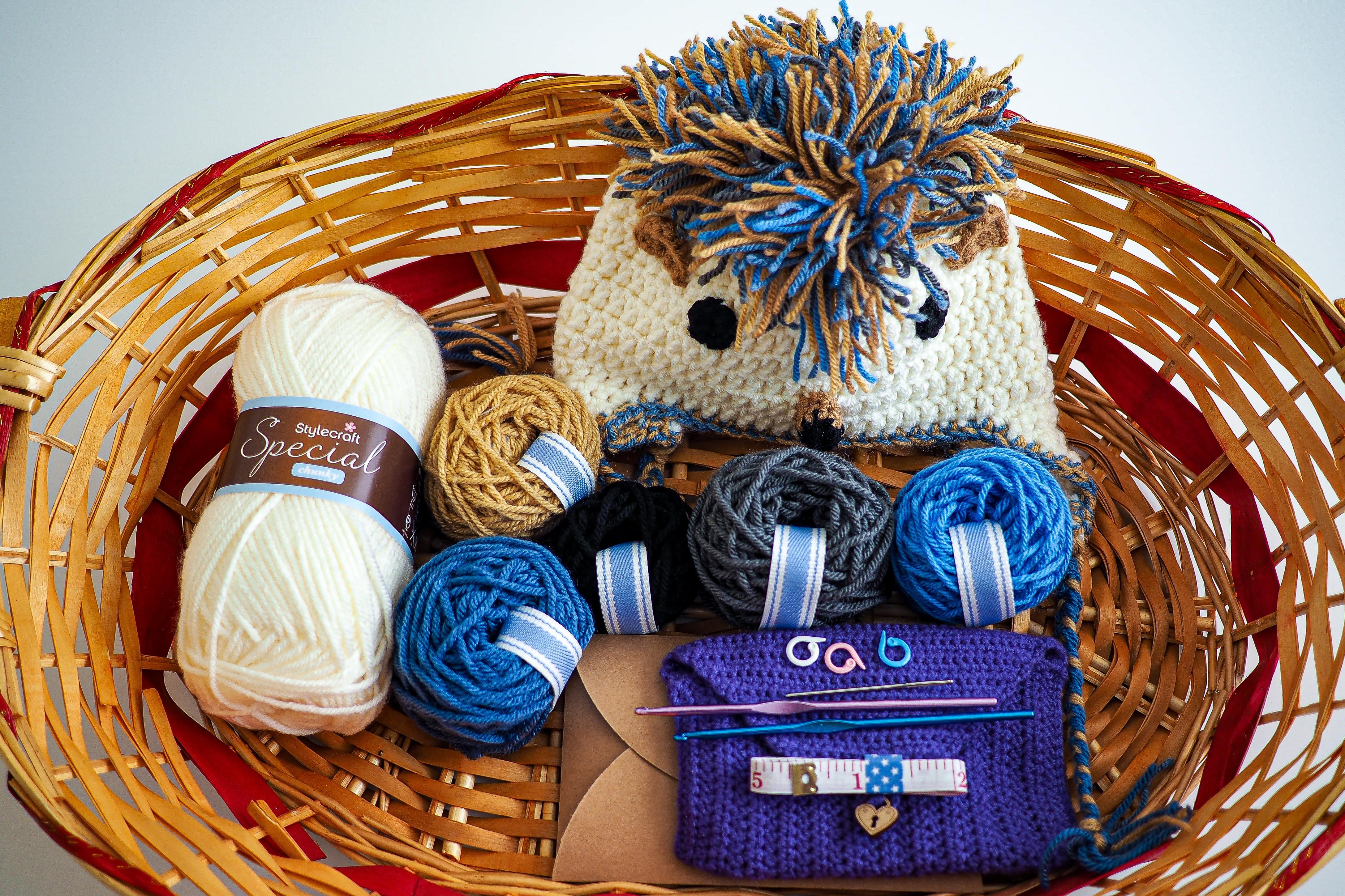 crochet kit and hedgehog hat