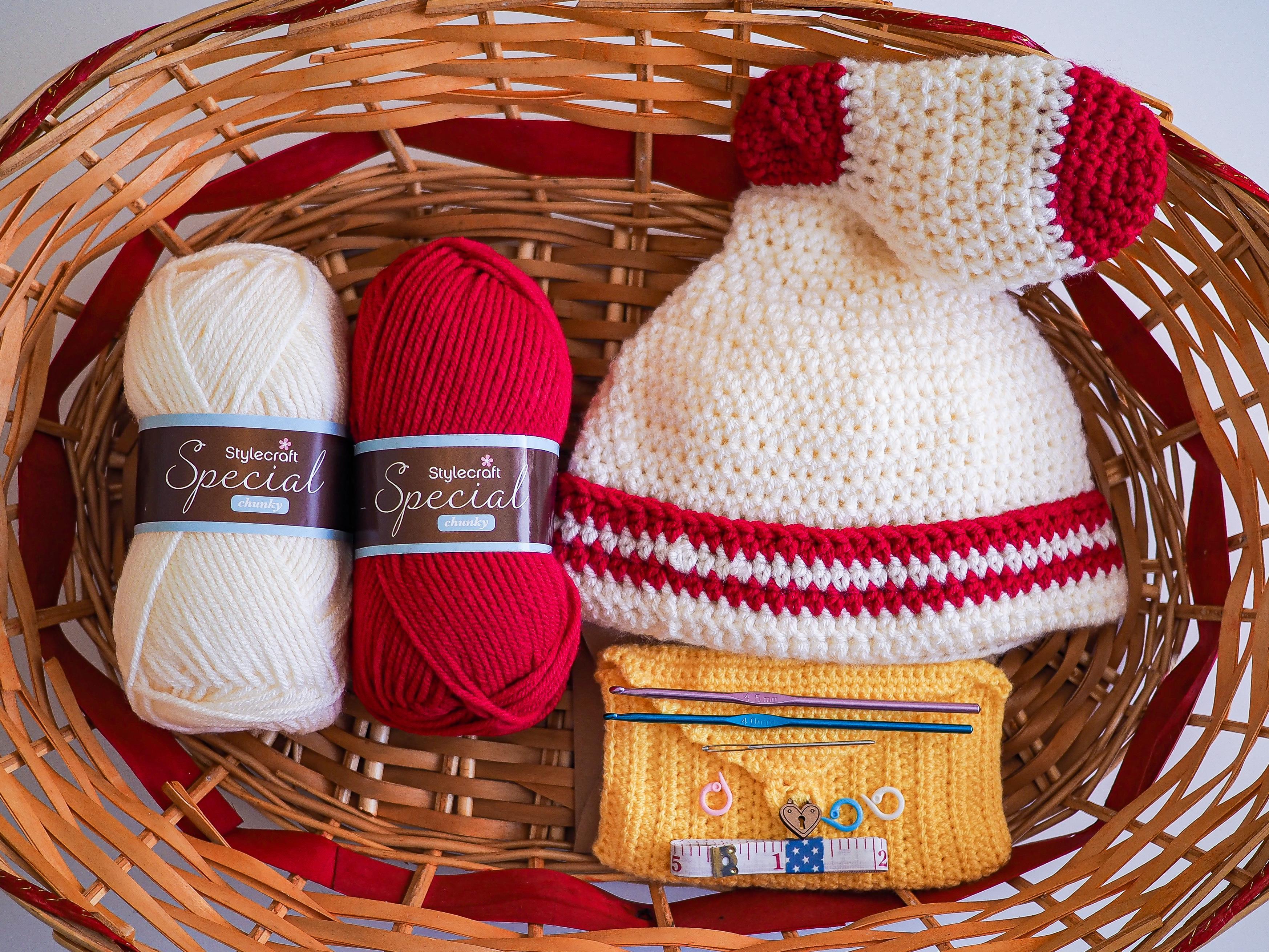 crochet kit and sock bandit hat