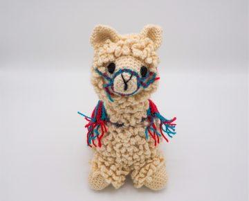 white crochet llama