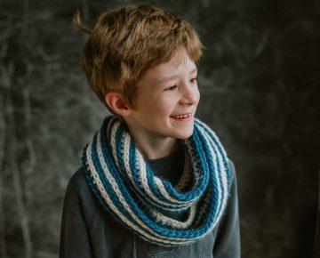 blue stripe infinity scarf
