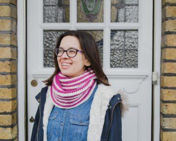 berry stripe infinity scarf